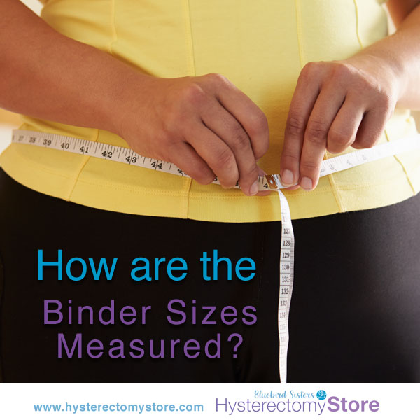 Woman showing how to measure for binder