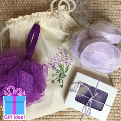 Shower Spa Set in yummy lavender fragrance to make your shower a special event
