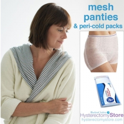 Post hysterectomy mesh panties are great for peri-pads and vaginal ice packs
