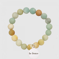 Gold and Mint Stone Stretch Bracelet